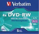DVD-RW Verbatim 4,7GB 5 stuks