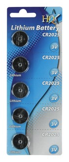 Knoopcel batterij CR2025 (5-pack)