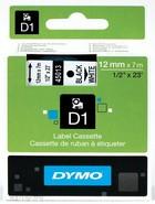 Dymo tape zwart op wit 12 mm x 7 m